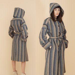 '60s vintage | striped wool coat w/ hood